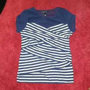 INC navy and white strip  top